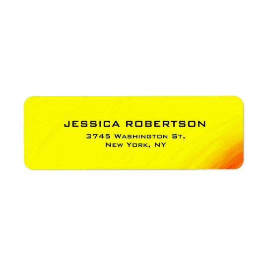 À la mode moderne élégant simple lisible jaune étiquettes d'adresse retour