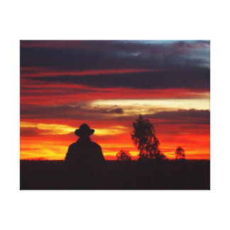 À l'intérieur coucher du soleil sur la toile