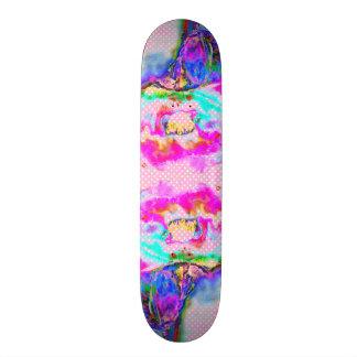 À petits pois rose et blanc de pavot rose skateboard