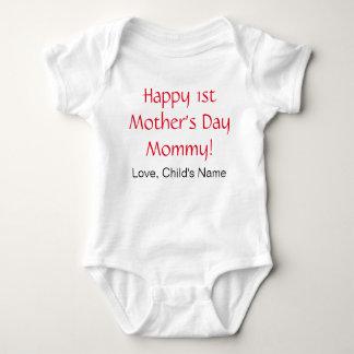 Ă?re combinaison heureuse de bébé de jour de mères body