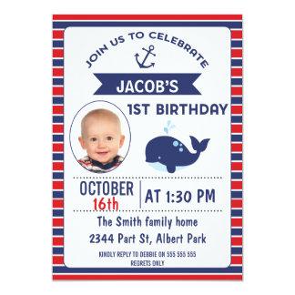 Ă?re invitation de fête d'anniversaire de baleine