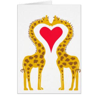 a rendu amoureux girafes carte de vœux