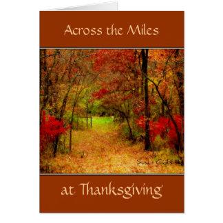 À travers la carte de thanksgiving de milles carte