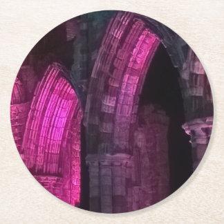 Abbaye de Whitby au goth magenta de voûtes Dessous-de-verre Rond En Papier