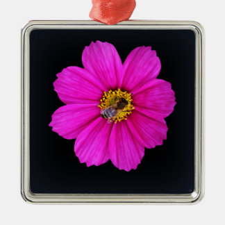 abeille assidue ornement carré argenté