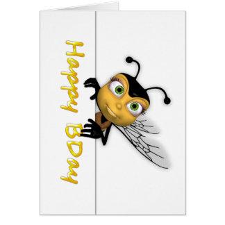 Abeille de miel de joyeux anniversaire - carte de vœux