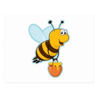 Abeille de miel et pot heureux de miel carte postale