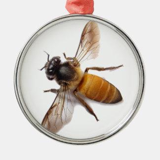 Abeille de miel ornement rond argenté