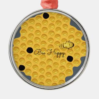 Abeille heureuse et le nid d'abeilles ornement rond argenté