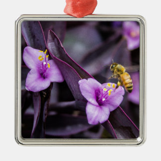 Abeille sur la fleur ornement carré argenté