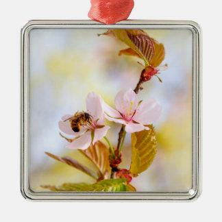 Abeille sur une fleur de cerise ornement carré argenté