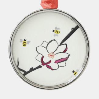 Abeilles de magnolia et de miel ornement rond argenté