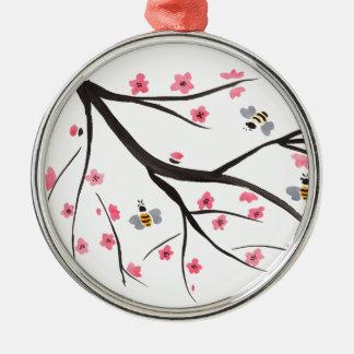 Abeilles et fleurs de cerisier de miel ornement rond argenté
