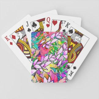 Abrégé sur floral de jeu art grunge classique de cartes à jouer