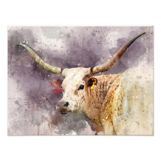 Abrégé sur photo d'aquarelle du Texas Longhorn