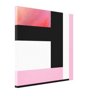 Abrégé sur rose, noir, blanc 2382 rectangle toile
