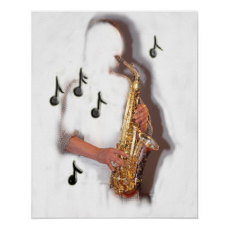 abstract de muziekinstrument van de saxofoonspeler poster