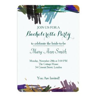 Abstracte Verf met de Partij van de Vrijgezel van 12,7x17,8 Uitnodiging Kaart