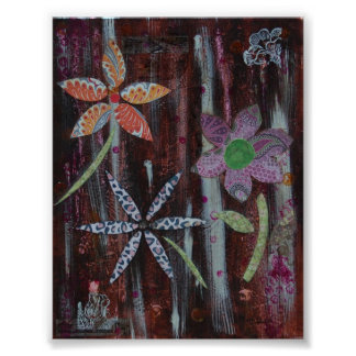 Abstracte Wildflowers Poster
