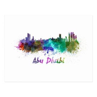Abu Dhabi skyline in watercolor Carte Postale