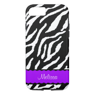 Accent pourpre avec le tigre blanc et noir coque iPhone 7