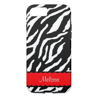 Accent rouge avec le tigre blanc et noir coque iPhone 7