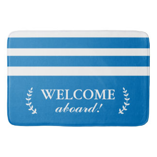 Accueil bleu et blanc nautique de tapis de bain à
