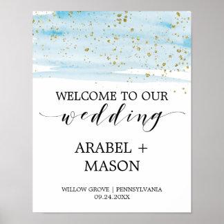 Accueil de mariage d'étincelle de bleu et d'or poster