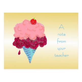 Accueil d'étudiant de crème glacée de carte carte postale