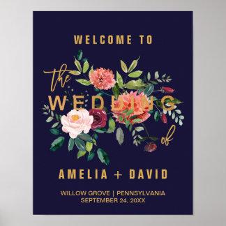 Accueil floral de mariage d'automne poster