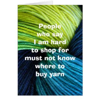 Achats de fil, carte de voeux pour des tricoteuses