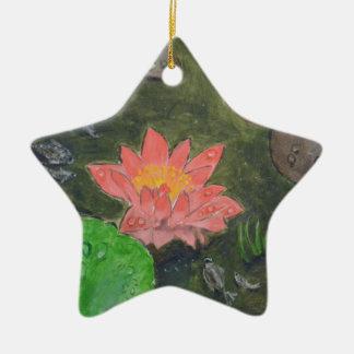 Acrylique sur la toile, le nénuphar rose et le ornement étoile en céramique