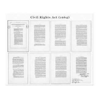 Acte ORIGINAL de droits civiques des Etats-Unis de Toiles