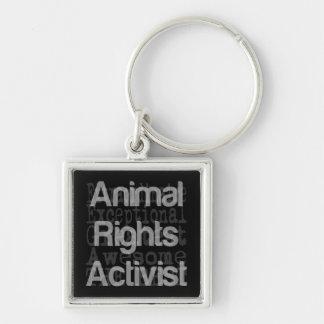 Activiste de droits des animaux Extraordinaire Porte-clé Carré Argenté