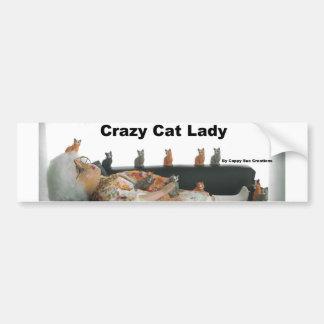 Adhésif pour pare-chocs fol de dame de chat autocollant de voiture