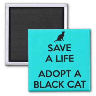 Adoptez un chat noir aimant de carré de 2 pouces