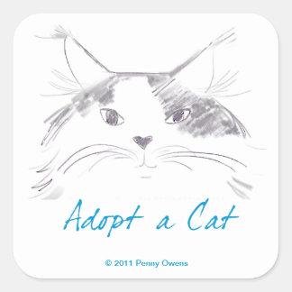 Adoptez un chat sticker carré