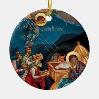 Adoration de l'ornement de Noël de Magi Ornement Rond En Céramique