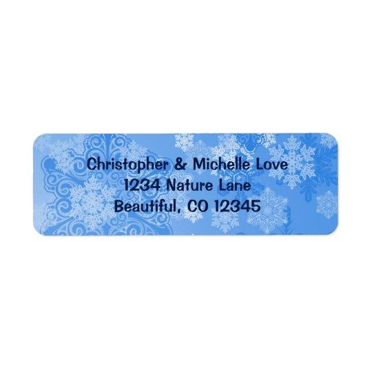 Adresse assez bleue et blanche d'hiver de flocons étiquette d'adresse retour