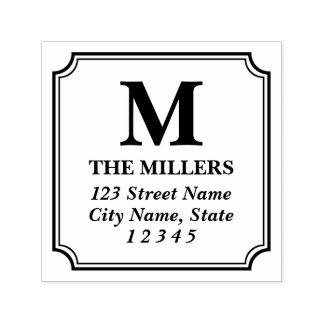 Adresse classique moderne de monogramme de nom de tampon auto-encreur