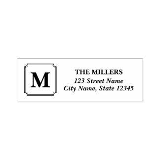 Adresse classique moderne de nom de famille de tampon auto-encreur