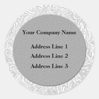 Adresse commerciale argentée et blanche Lables Sticker Rond