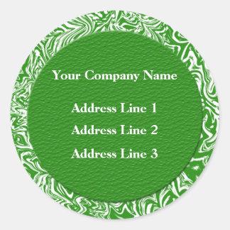 Adresse commerciale verte et blanche Lables Sticker Rond