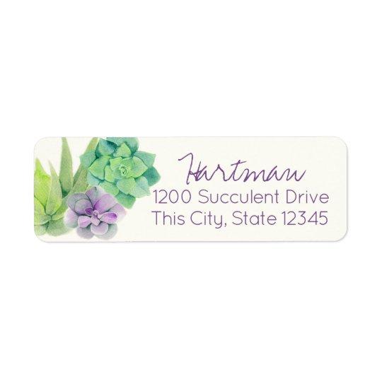 Adresse d'aquarelle de Succulents Étiquette D'adresse Retour