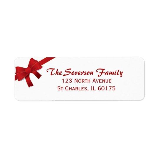 Adresse de retour d'arc de vacances rouges de Noël Étiquettes D'adresse Retour