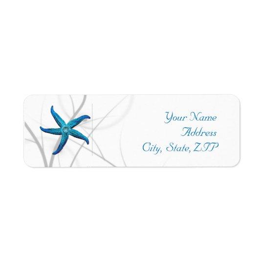 Adresse de retour de corail bleue d'étoiles de mer étiquettes d'adresse retour