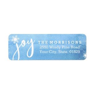 Adresse de retour de flocon de neige de joie de étiquette d'adresse retour