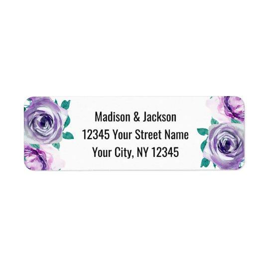 Adresse de retour de menthe et de mariage rose étiquette d'adresse retour