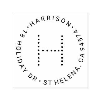 Adresse de retour ronde de monogramme moderne tampon auto-encreur