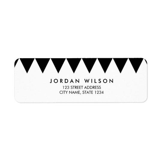Adresse moderne de motif noir et blanc de triangle étiquette d'adresse retour